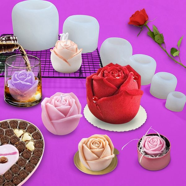 Rose Flower Silicone Molds Cupcake Topper Fondant 3D Cake Wedding Decorating Tools Chocolate Candy Clay Plaster