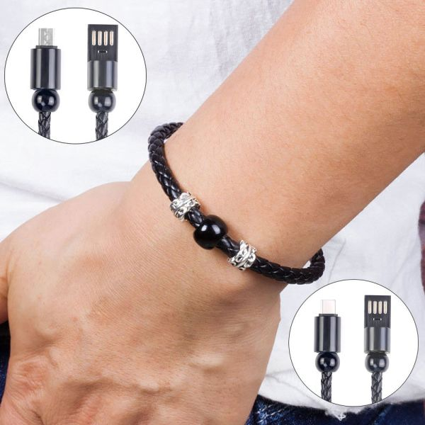 USB Charger Data Sync Cable Bracelet Wrist Band For Android Type C iPhone XS 6S 7