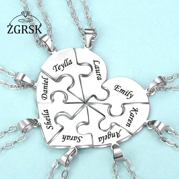 Family 6 Name Custom Necklaces Fashion O chain Women Pendant Necklace Electroplated Heart Pendant Souvenir Customized