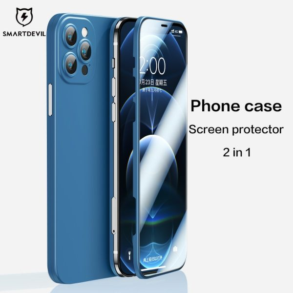 SmartDevil Phone Case With Screen Protector For iPhone 12 Pro Max Liquid Silicone Cover For Apple