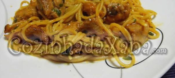 Carne guisada com esparguete