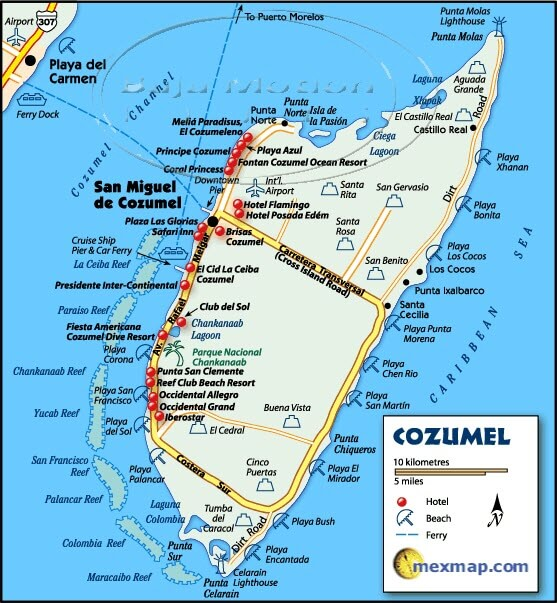 Map of Cozumel island