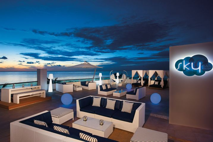 Rooftop bar with ocean view