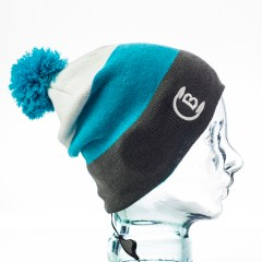 CozyB - Tri Colour Pom Pom Beanie Headphone Side View