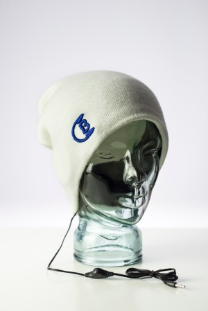 CozyB - Classic White Beanie Headphone Front View