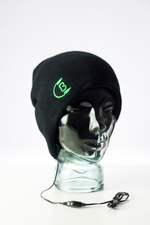 CozyB - Classic Black Beanie Headphone Front View