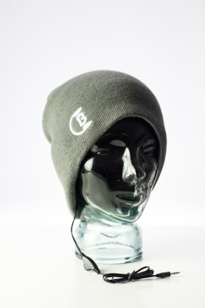 CozyB - Classic Grey Beanie Headphone Front View