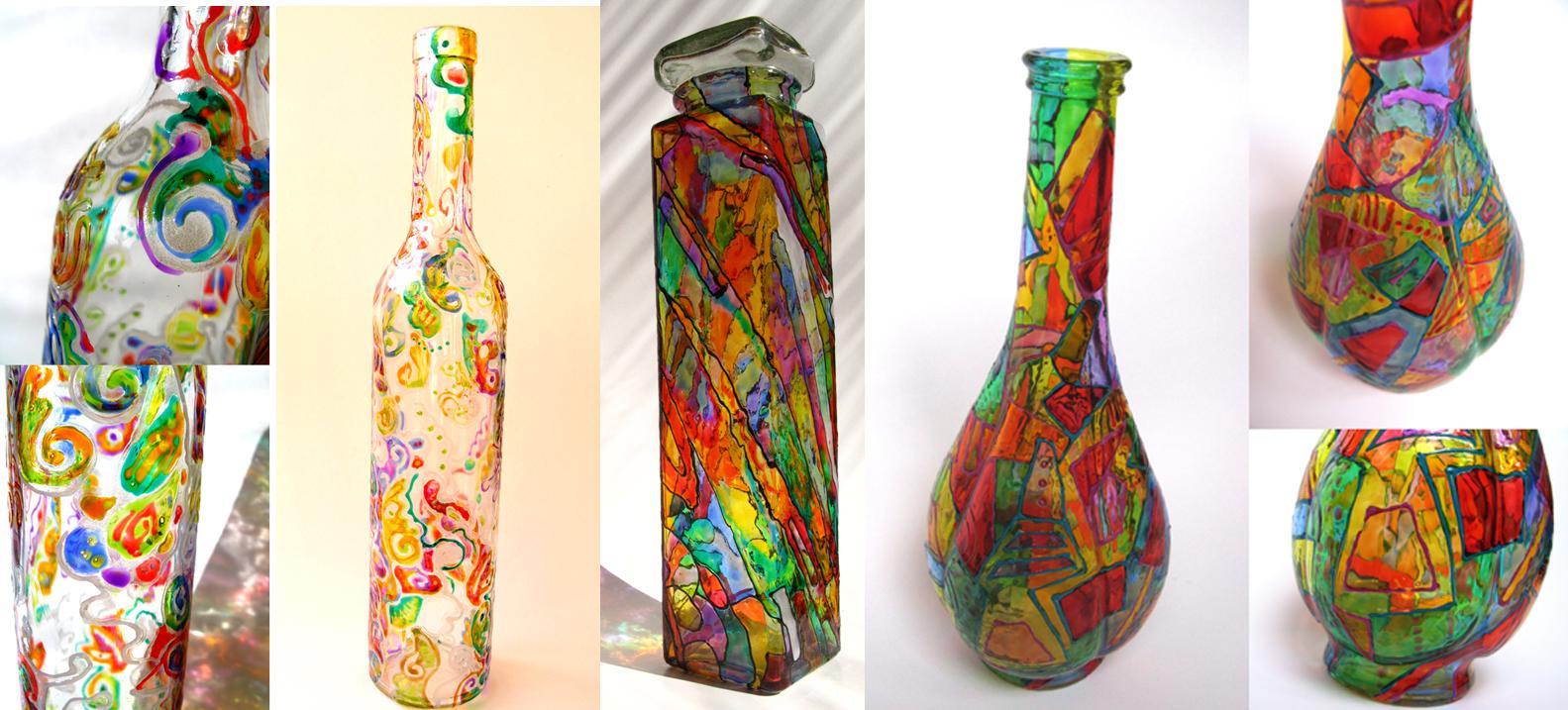 Botol hiasan cat berwarna