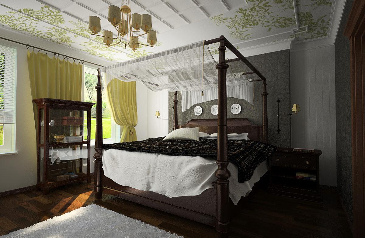 Liten dekorativ genomskinlig baldakin på sängramen