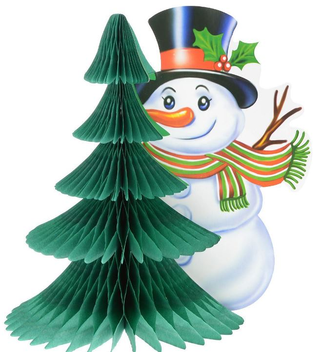 Как украсить бумажного снеговика