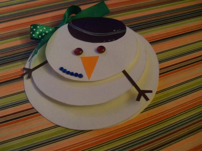 Снеговик из бумаги на открытку