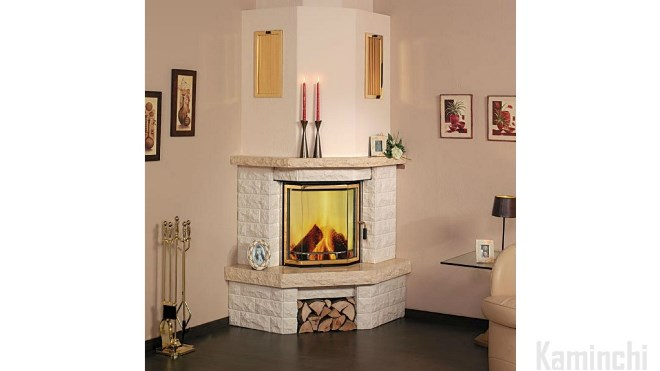 Corner fireplace from chimney cardboard sheets