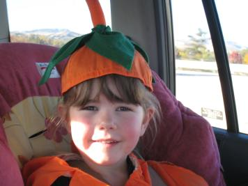 pumpkin costume in the car; podcasts article