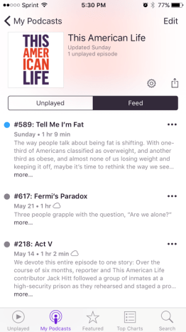 iPhone my podcasts this american life feed