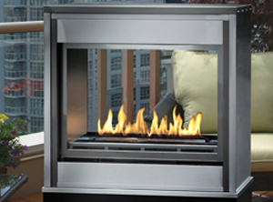 Montigo H Series Outdoor Ventless See Through  Traditional Logs  See Through Gas Fireplace