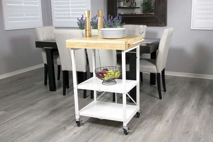 Crosley Natural Wood Top Rolling Kitchen Cart/Island With ... | 467x700