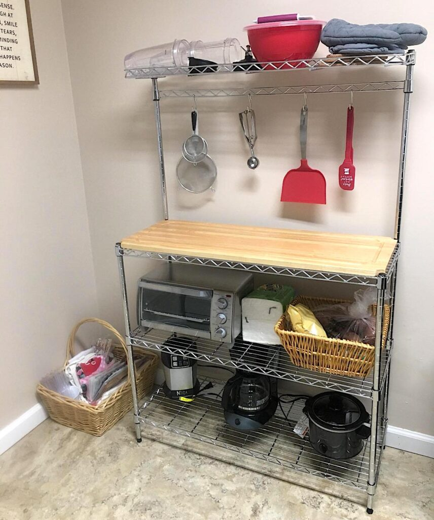 rack with removable wood cutting board