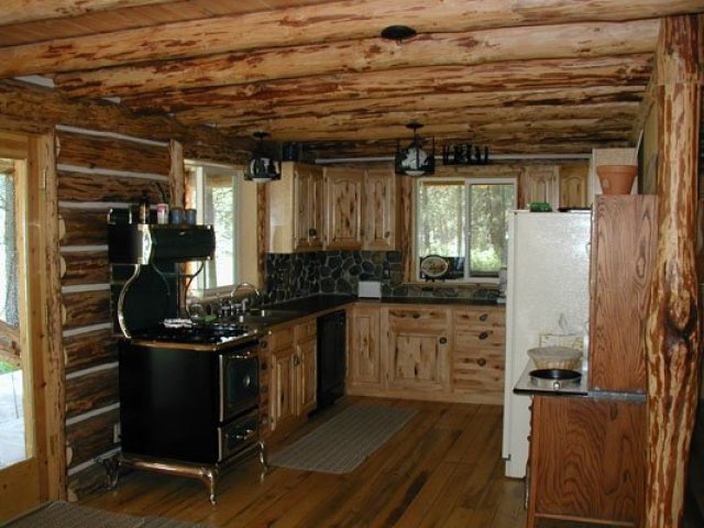 Secluded log cabin kitchen