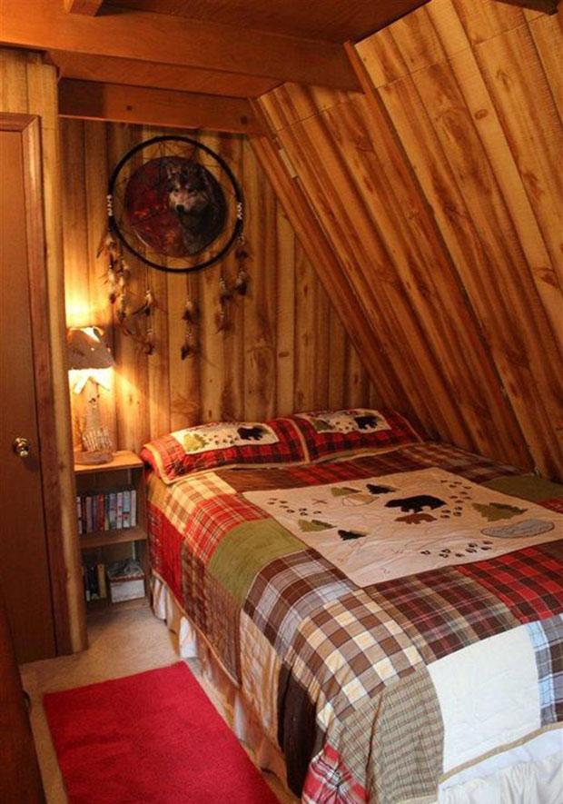 A frame cabin bedroom