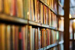 selective focus photography of brown wooden book shelf