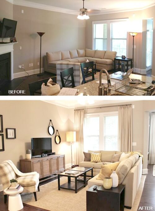 arrange living room furniture small apartment chandeliers for ideas arrangements cozy little house in the case above first photo hug walls but by bringing sectional away from wall you create illusion of more space
