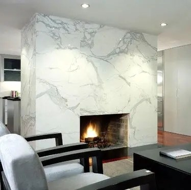 Floor To Ceiling Marble Fireplace