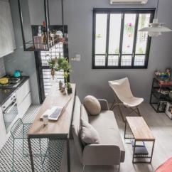 Small Kitchen Table Set Cheap Knobs 小坪數也要有餐桌 這10個方法學起來 設計文章 這10 在無法作過多場域分割下 運用家具劃分場域是最好方法 在一字型廚房前方擺上微高桌面 像中島也像吧檯 更成為沙發後方的倚靠 謐空間研究室