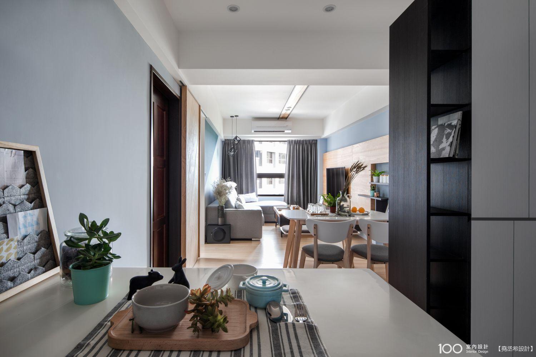18坪 北歐風 2房 新成屋 裝修案例圖 - 輕透藍與原木交會的北歐宅 - 堯丞希設計 - 100室內設計