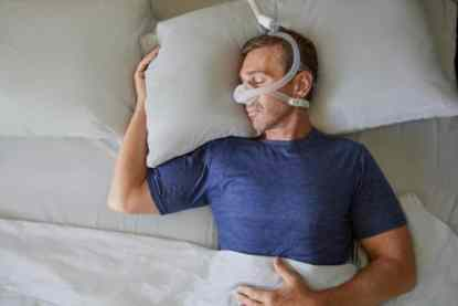 Man Sleeping with CPAP Nasal Mask - cpapRX