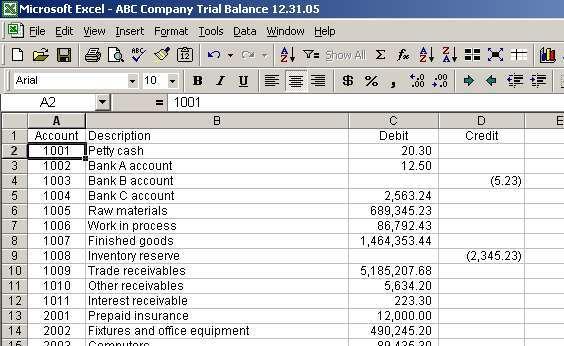 trial balance worksheet excel