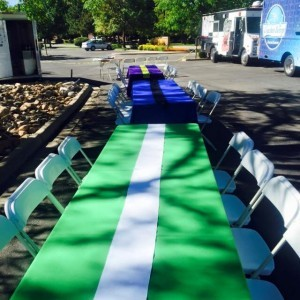 work stations for art party, tie-dye party, Table Rentals DTC Eats