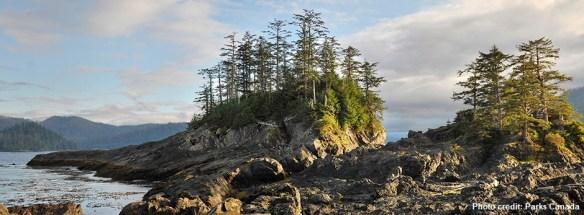 rocky forested coast of Moresby Island in Haida Gwaii, western Canada