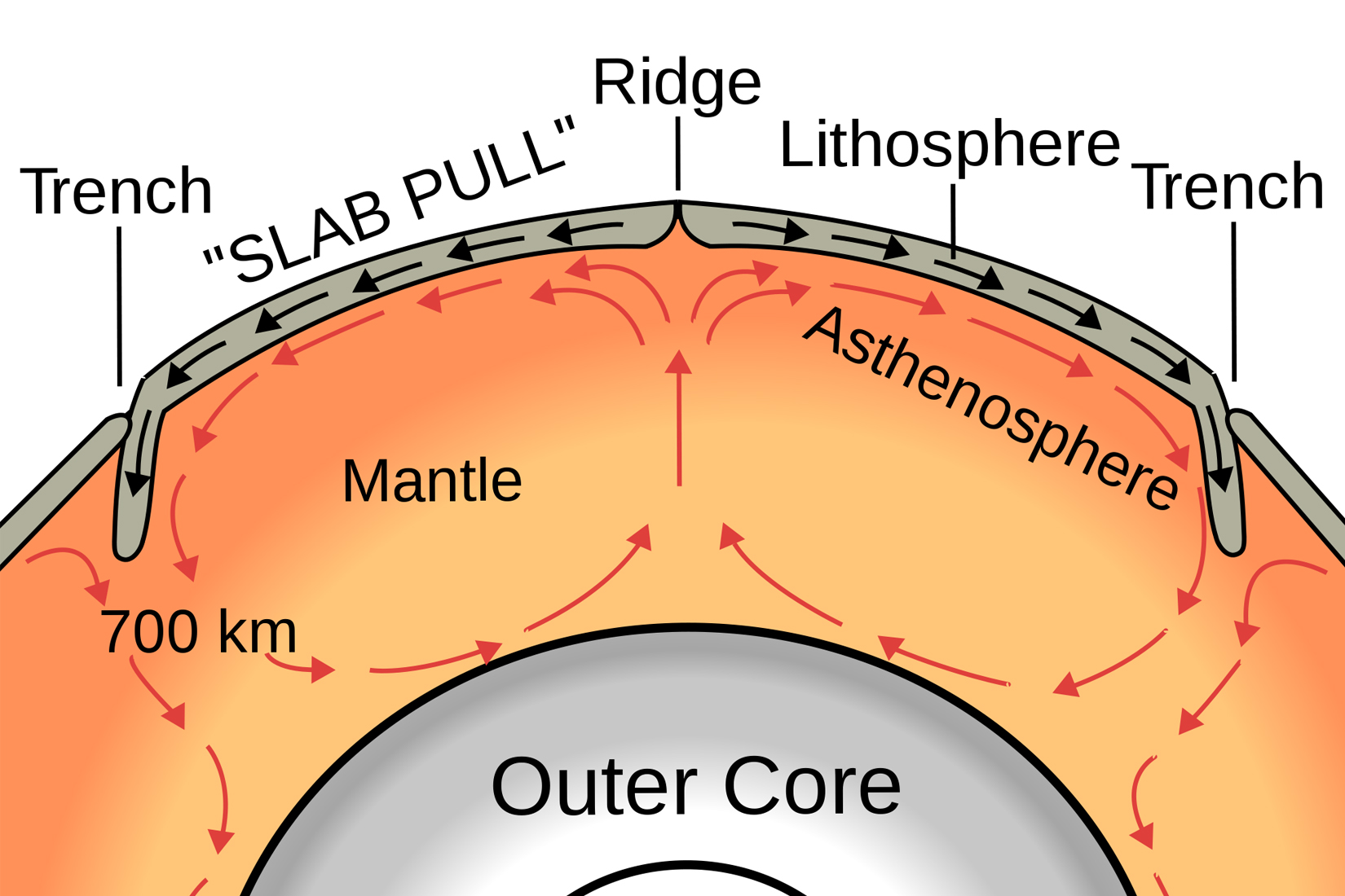 hight resolution of a graphic showing the convective heat cycle red arrows that drive plate tectonic motion black arrows on earth heat flows toward subduction zones
