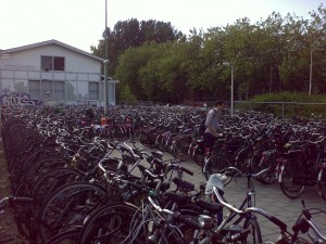 The most relevant image I could find: The overfull bicycle parking behind Delft station on Thursday just after noon, right before leaving for the NFBI meeting in Leiden.  Turns out that in the Netherlands, there's on average slightly more than one bicycle for each and every inhabitant.