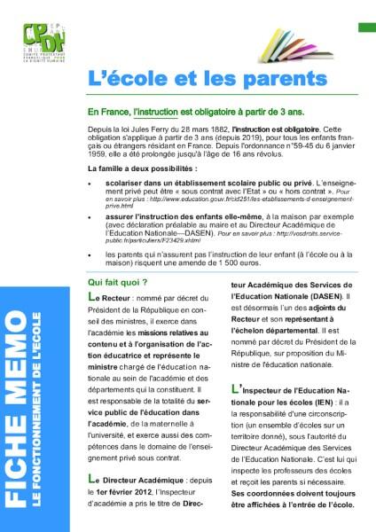 Ecole et parents