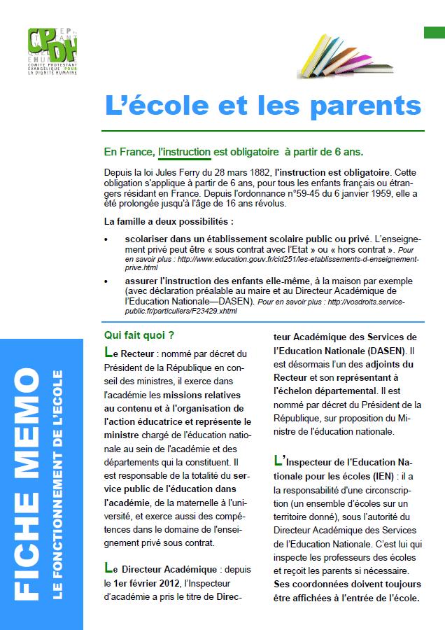 L'école et les parents