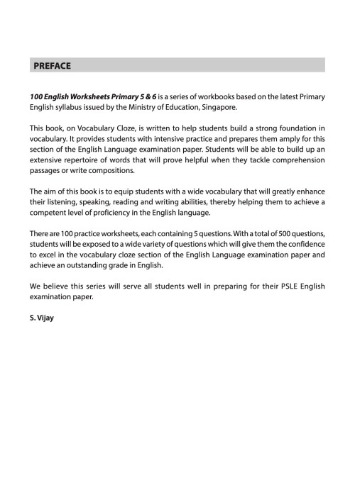 small resolution of 100 English Worksheets Primary 5 \u0026 6: Vocabulary Cloze   CPD Singapore  Education Services Pte Ltd