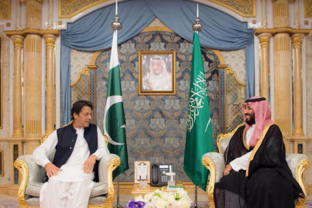 Pakistani Prime Minister Imran Khan meets Saudi Crown Prince Muhammad bin Salman in Jeddah, Saudi Arabia on September 19, 2018. (Photo Credit: Government of Pakistan)