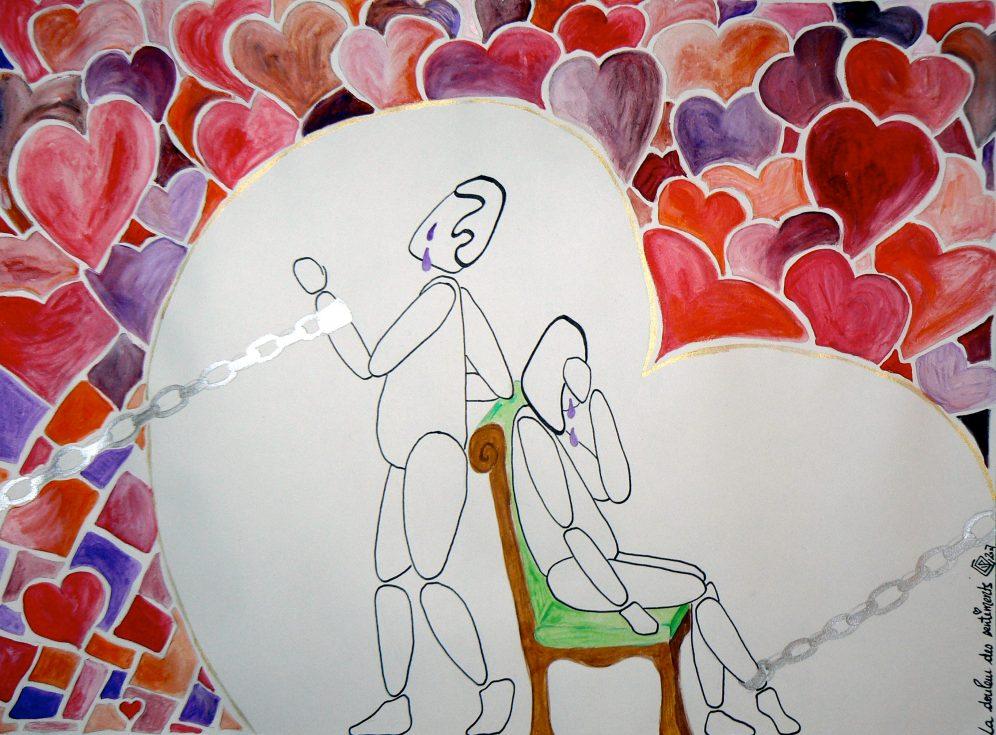 A3, feutre et aquarelle, La douleur des sentiments • Illustration Claire PéhO