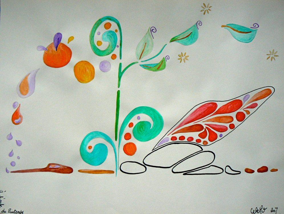 A3, feutre et aquarelle, À l'aube du printemps • Illustration Claire PéhO