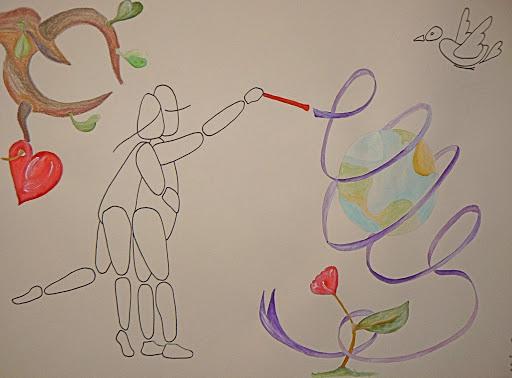 A3, feutre et aquarelle, Tout devient possible lorsqu'un est deux • Illustration Claire PéhO