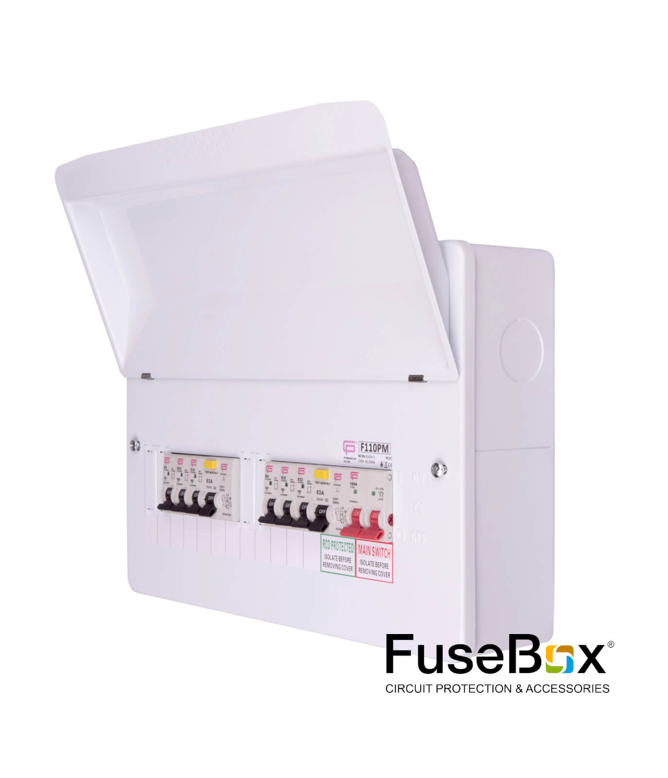 hight resolution of populated dual rcd 10way 6xmcbs metal sku f110pm category fusebox consumer units