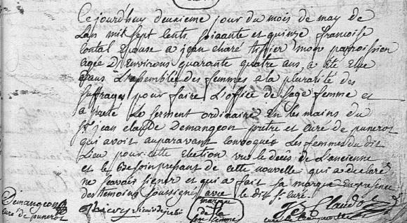 Election de sage-femme 1775