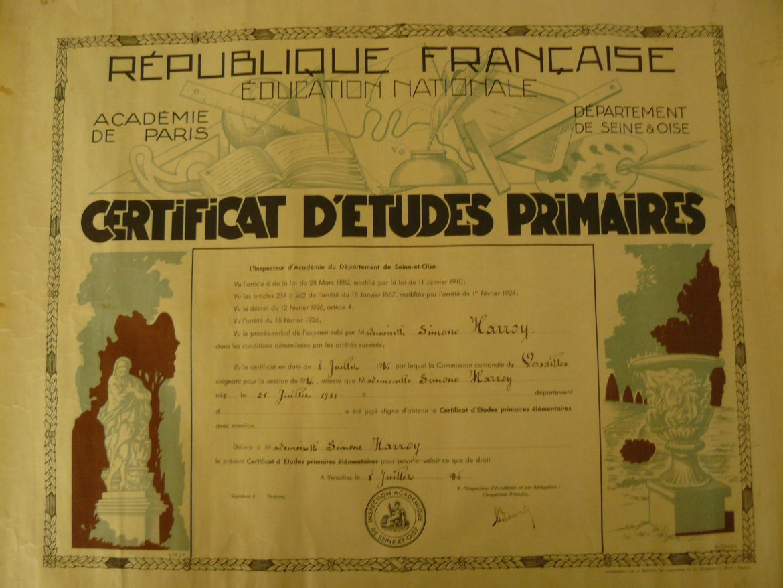 Certificat Etudes Primaires Simone HARROY