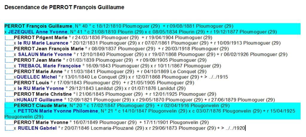 Descendance PERROT Francois Guillaume 1810 Ploumoguer