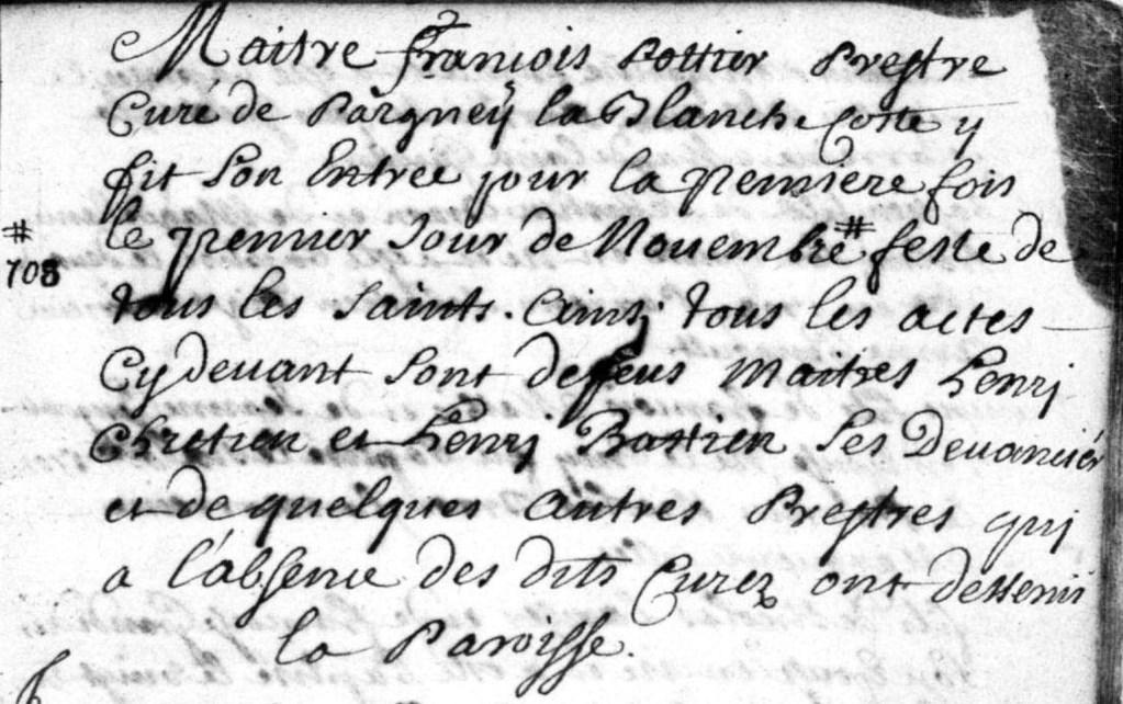 Entrée de François POTTIER comme curé de Pagny-la-Blanche-Côte en 1708