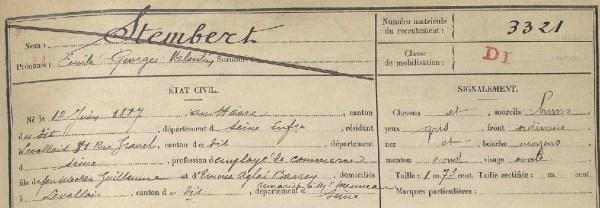 Matricule militaire STEMBERT Emile Georges Valentin 1907 Paris entete