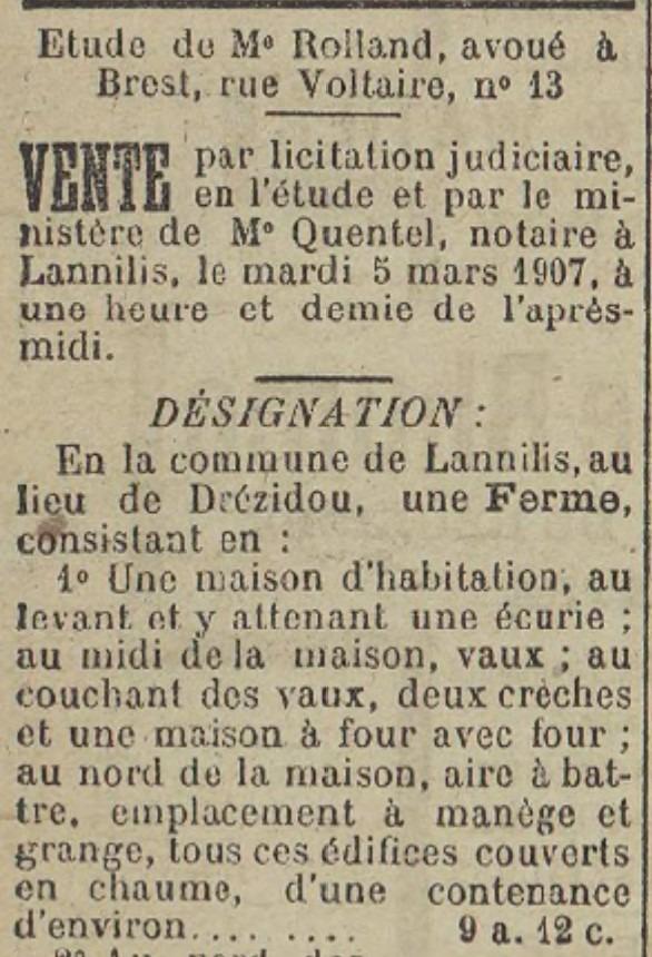 Vente licitation Lannilis Drézidou 1907-02-17