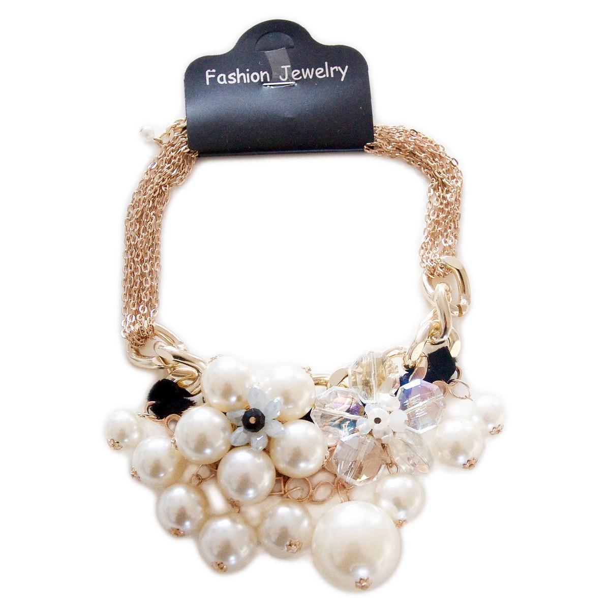 Madame Bijoux Statement kæde med blomster og perler