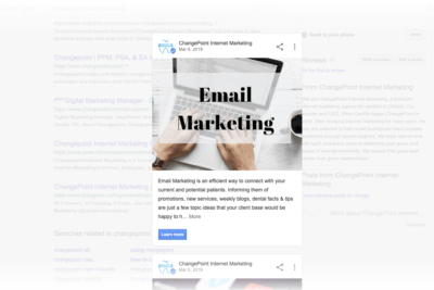 Google My Business posts for email marketing